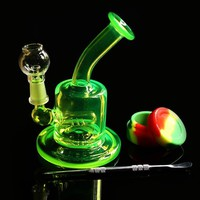 Colored mini pipe glass bong Water pipe Bongs Recycler Filter Percolators Smoking nails jiont 10MM Height 13cm
