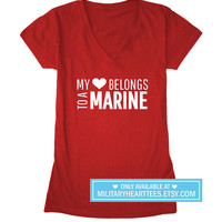 My Heart Belongs to a Marine tshirt, marine wife shirt, marine girlfriend shirt, marine fiance, marine clothing, I love my marine