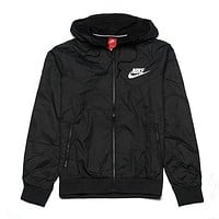 """NIKE"" Windbreaker Zipper Coat Jacket Contrast Cardigan Black I"