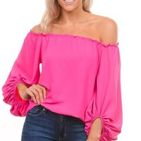 Hot Pink Off Shoulder Top