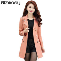 Spring Autumn Trench Coat For Women 2016 Fashion Turn-down Collar Double Breasted Candy Color Long Coats Plus Size Trench BN991