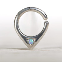 Opal Septum Ring Nose Ring Body Jewelry Sterling Silver with Blue Sky Opal Bohemian Fashion Indian Style 14g 16g - SE034R SS OP06