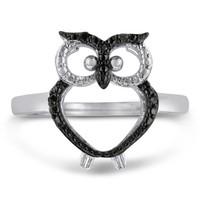 Black Diamond Owl Ring Crafted In Solid Sterling Silver