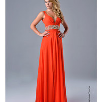 Nina Canacci 2034 Tangerine Plunging V Neck Dress 2015 Prom Dresses