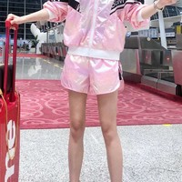 """""""Msgn"""" Woman's Leisure  Fashion Letter Personality Printing Zipper Long Sleeve Shorts Two-Piece Set Casual Wear"""