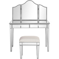 """Contempo 42""""x18""""x31"""" Mirrored Vanity Table, Mirror & Chair, Silver"""