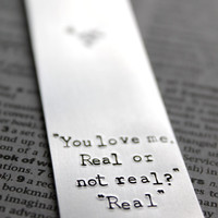 Hunger Games - You Love me - Real or not real - Metal Stamped Personalised Bookmark