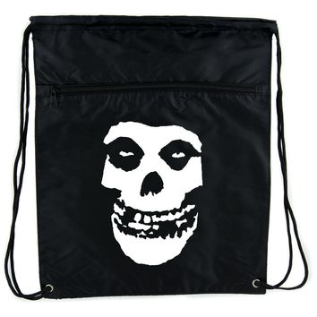 Skeleton Skull Misfits Punk Rock Cinch Bag Drawstring Backpack Goth Emo