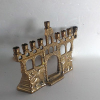 Vintage Brass Menorah Chanukah Small Candleholder Aged Patina 4 & 3/4 Inches Tall X 5 And 3/8 Inches Wide X 1 And 1/8 Inches Wide