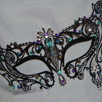 Metal Masquerade Mask with Peacock Color Accents