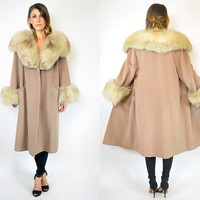 huge FOX fur collar & cuffs wool TRAPEZE swing mod dress COAT cape jacket, extra small-large