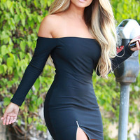 Black Off-shoulder Long Sleeve Zipped Slit Bodycon Mini Dress