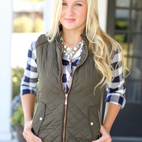 Fur Lined Quilted Riding Vest - Olive