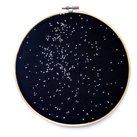Embroidered Star Map - Constellations - Hand Embroidery - Stargazing - Space Decor, Living Room Decor, Astrology, Astronomy, Star Signs