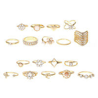 Gold and Crystal Assorted Multi-Size Rings