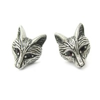 Detailed Wolf Fox Face Shaped Stud Earrings in Silver with Rhinestones | Animal Jewelry