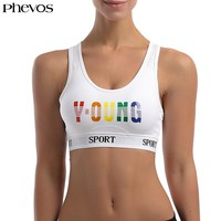 PHEVOS Fitness Yoga Push Up Sports Bra for Running Gym Rainbow Letter Print Woman Padded Sport Bra Wire Free Breathable Crop Top