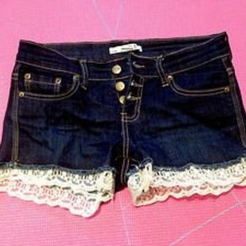 Forever 21 Denim Customized With Lace Trim