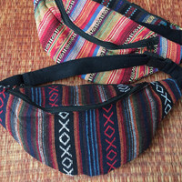 Festival Tribal Fanny pack Ikat Styles cycling bag Travel Hipster phanny waist woven bag Ethnic Hippie Bohemian Stripe for men black red