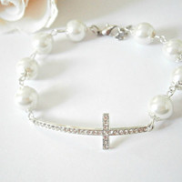 Sideways Cross Bracelet - Glass Pearl Bracelet - Silver and White - Beaded Jewellery - Christian Jewelry - Pave Bracelets - Gift for Her