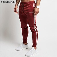 2018 Men's Jogger Pants Cotton Male Bodybuilding Fitness Pants Casual Black Wine red Trousers Sweatpants For Man