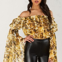 Off the Shoulder Shirt in Blue Multi and Gold Citron