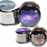 0g9/16in Galaxy or Floral Hello Kitty Plugs by SkywalkerDesigns