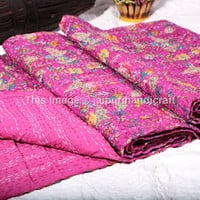 Kantha Quilt Floral Paradise Bedspread, Indian Blanket Queen Throw Gudari, Paradise Kantha Quilt Reversible Queen Size Bedspread Bedcover