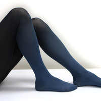Ocean Blue - Dark Blue Hand Dyed Tights