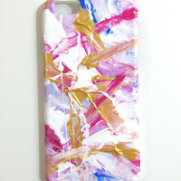 iPhone 6 Case Abstract Hand Painted Cellphone Accessories hard plastic Pink Blue White Gold
