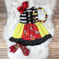 RTS- Adorable Mouse Girl Dress w/ Optional mouse necklace! D-47