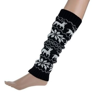 Imixlot Winter Warm Deer Snowfalke Pattern Crochet Leg Warmer Boot Socks
