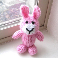 """Hand Knit Pink Bunny - Little Knit Animal Easter Bunny Toy Stuffed Animal - Newborn Photo Prop - Baby Girl Rabbit Stuffed Toy 4 3/4"""" Tall"""