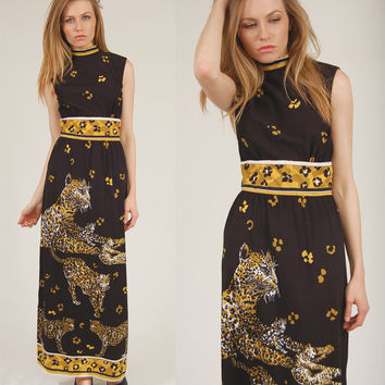 Vintage 70s LEOPARD Print Maxi Dress Black Retro Glam ANIMAL Print S/M