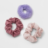 Twister, Faux Fur, Satin, Jersey Hair Elastics 3ct - Wild Fable™ Purple