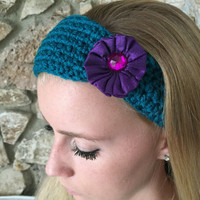 Teal Crochet Headband with a Purple Satin Flower Women's Hairband, Teen Headband Crochet Headwrap, Fall, Winter Headband -  READY TO SHIP!