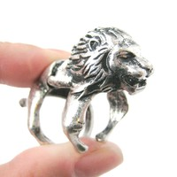 3D Lion Shaped Animal Wrap Armor Knuckle Joint Ring in Silver   Size 5 to 9