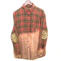Sequin Flannel Shirt in Red Plaid/Gold