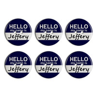 Jeffery Hello My Name Is Plastic Resin Button Set of 6