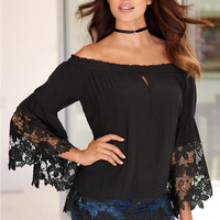 Off the Shoulder Bell Sleeve Lace Blouse