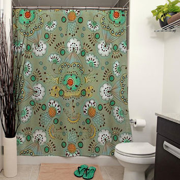 Flower in the Sky Pattern Shower Curtain