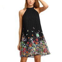 Woman Dress Summer Black Round Neck Sleeveless vestidos Womens Casual Clothing Floral Print Cut Away Shift Dresses Plus Size #48