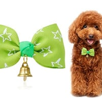 Lovely Pet Bow Necktie with Ring Bell (Green)