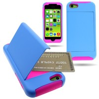 CoverON® Hybrid Dual Layer Case with Credit Card Holder for Apple iPhone 5C - Light Blue Hard Pink Soft Silicone