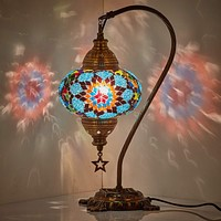 New BOSPHORUS Stunning Handmade Swan Neck Turkish Moroccan Mosaic Glass Table Desk Bedside Lamp Light with Bronze Base Blue & Multi
