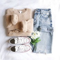 Brushed Waffle-Knit Top
