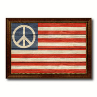 Peace Sign American Military Flag Texture Canvas Print with Brown Picture Frame Home Decor Wall Art Gifts