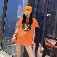 """""""Louis Vuitton"""" Woman Casual Fashion Letter Solid Color Logo Loose Large Size Short Sleeve T-Shirt Tops"""