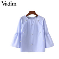 Women elegant Pearls Sleeve Shirt