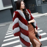 Slim Long Sleeve Pocket Spliced Long Faux Fox Fur Jacket